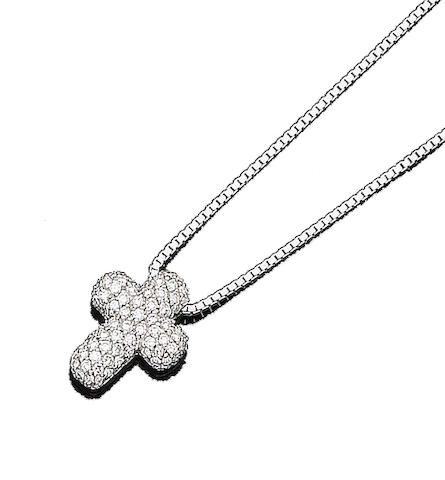 A diamond-set cross pendant necklace