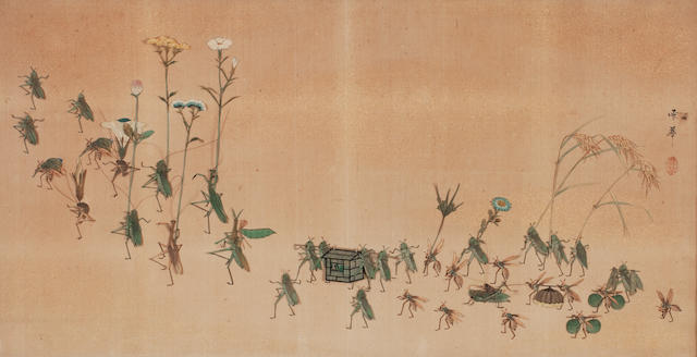 An embroidered picture of an insect parade Meiji, signed Sekka