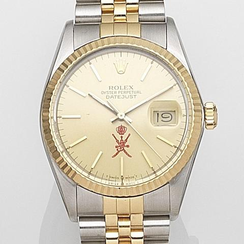 Rolex. A stainless steel and gold automatic calendar bracelet watch Datejust, Ref:16013, Serial No.R75****, Movement No.203****, Circa 1987