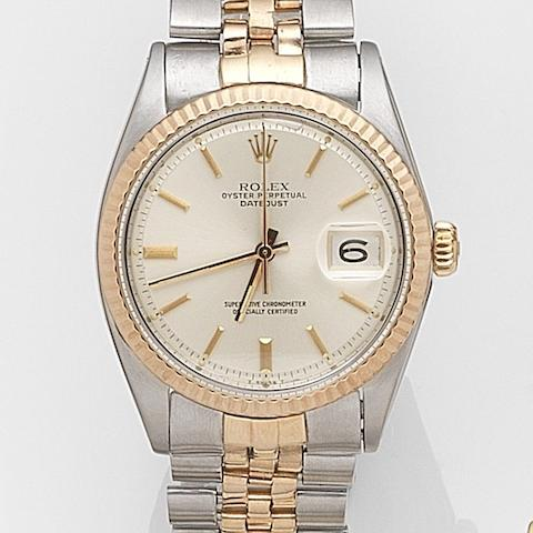 Rolex. A stainless steel and rose gold automatic calendar bracelet watch Datejust, Ref:1601, Serial No.100****, Movement No.D63***, Circa 1964