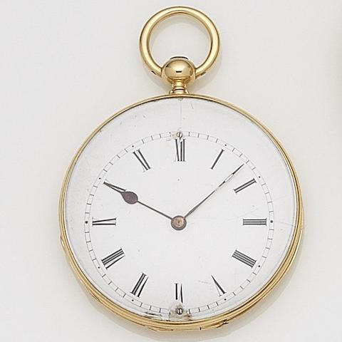 Le Roy & Fils. A continental gold key wind open face pocket watch with duplex movement Case No.5630, Cuvette No.23971, Circa 1840
