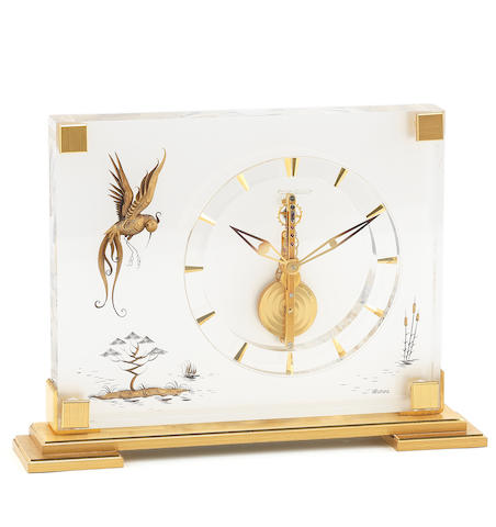 Jaeger-LeCoultre. A brass and lucite 8 day desk clock Marina, Ref:350, Circa 1960
