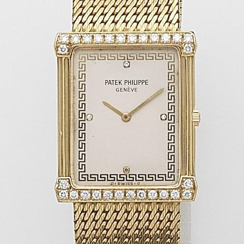 Patek Philippe. An 18ct gold and diamond set manual wind bracelet watch Ref:3776/1, Case No.281****, Movement No.136****, Circa 1975
