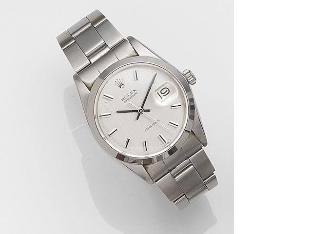 Rolex. A stainless steel manual wind calendar bracelet watch Oysterdate Precision, Ref:6694, Serial No.321****, Circa 1971