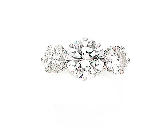 A diamond three-stone ring, by Boodle and Dunthorne