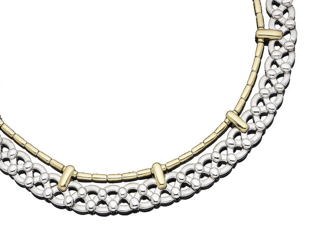 A gold collar necklace, by Garrard,