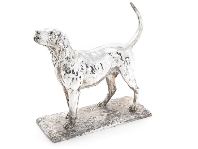 An Edwardian silver model of a fox hound by Elkington & Co Ltd, Birmingham 1910