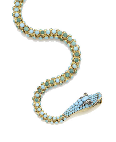 A turquoise, garnet and diamond serpent necklace,