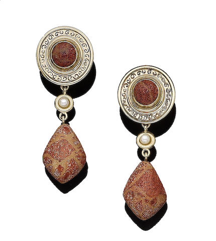 A pair of gold, coral and cultured pearl pendent earrings, by Cassandra Goad