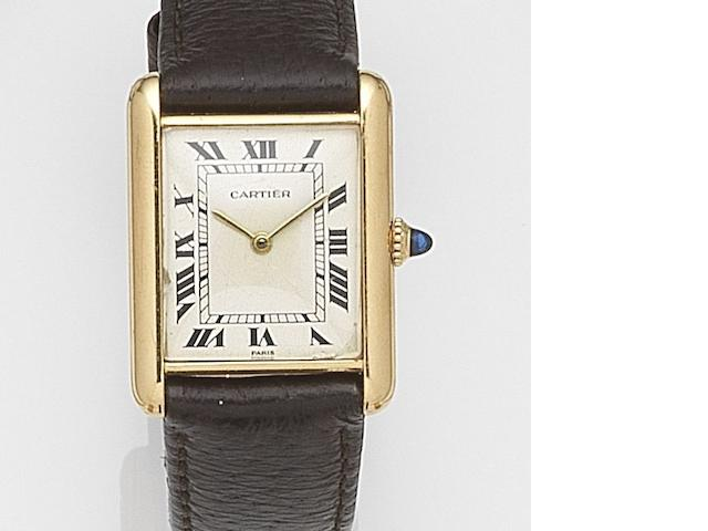 Cartier. An 18ct gold manual wind wristwatch Tank, Case No.780862007, Circa 1980