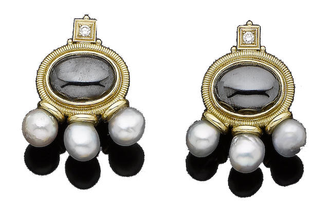 A pair of cultured pearl, hematite and diamond earclips, by Elizabeth Gage,