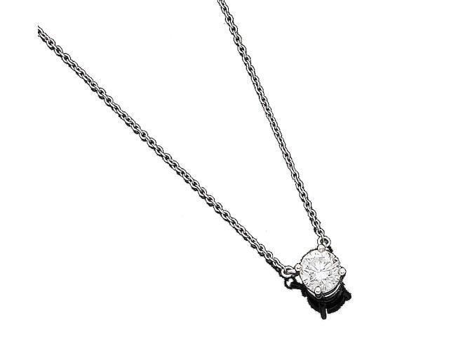 A diamond pendant necklace, by Tiffany & Co.