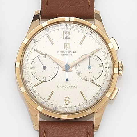 Universal. An 18ct rose gold manual wind chronograph wristwatch Uni-Compax, Case No.1888719/124146 3, Circa 1960