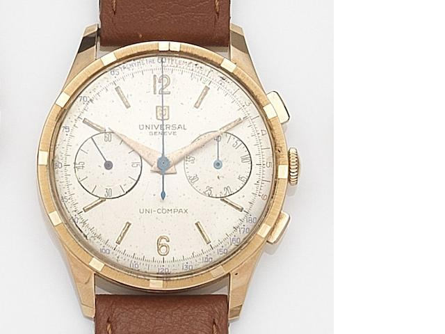 Universal. An 18ct rose gold manual wind chronograph wristwatch Uni-Compax, Case No.1888719/124146 3, Circa 1960