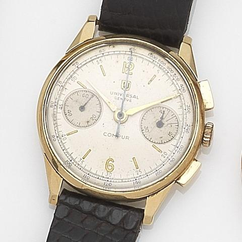 Universal. An 18ct gold manual wind chronograph wristwatch Compur, Case No.590164, Circa 1950