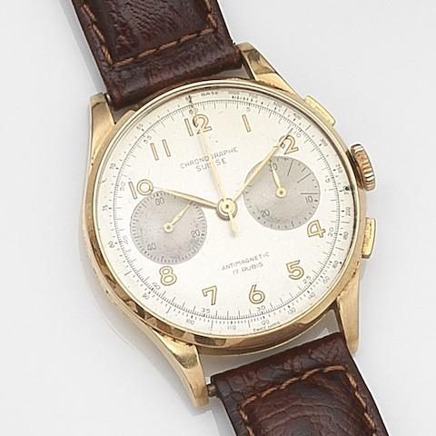 Chronographe Suisse. A gold manual wind chronograph wristwatch Circa 1950