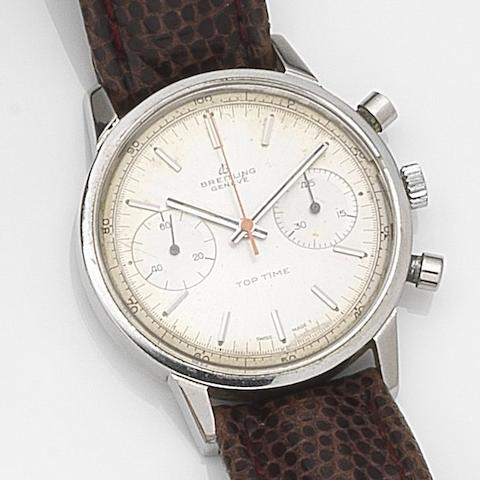 Breitling. A stainless steel manual wind chronograph wristwatch Top Time, Ref:2002, Case No.1081303, Circa 1965