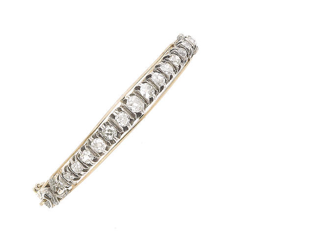A diamond-set hinged bangle,