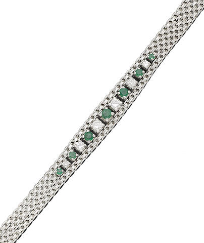 An emerald and diamond-set bracelet