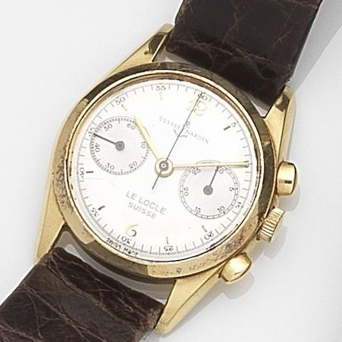 Ulysse Nardin. An 18ct gold manual wind chronograph wristwatch Case No.401-52 0546, Movement No.40.2.054, Circa 1950