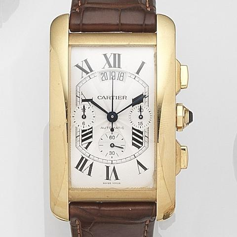 Cartier. An 18ct gold automatic calendar chronograph wristwatch Tank Americaine, Ref:2892, Case No.82936LX, Circa 2005