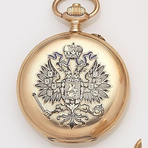 Paul Buhre. A 14ct gold keyless wind full hunter pocket watch Case and Cuvette No.89309, Circa 1900