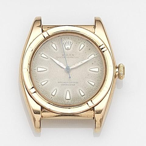 Rolex. An 18ct gold manual wind bubbleback watch head Oyster Perpetual, Ref:3372, Case No.568***, Movement No.672**, Circa 1950