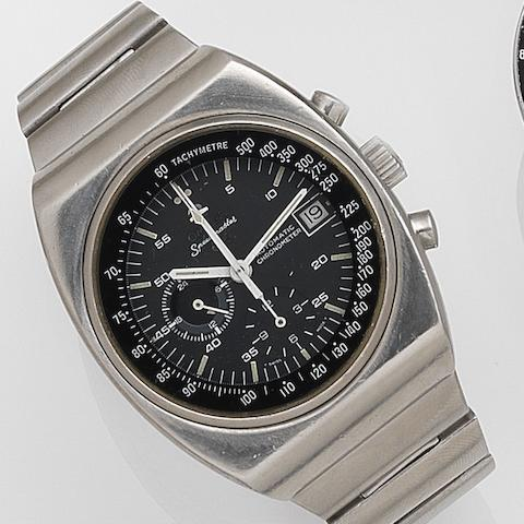 Omega. A stainless steel automatic calendar chronograph bracelet watch Speedmaster 125, Ref:ST 378.0801, Sold 2nd October 1976