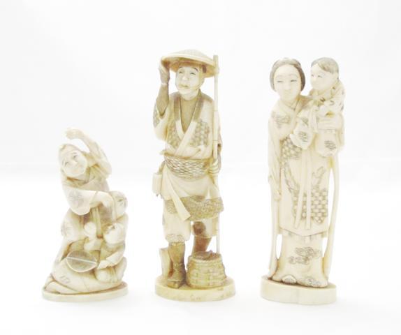 Three ivory okimono Meiji