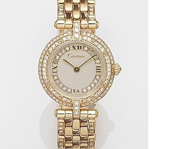 Cartier. A lady's 18ct gold and diamond set quartz bracelet watch Vendome, Case No.669251508, Sold 11th November 1988
