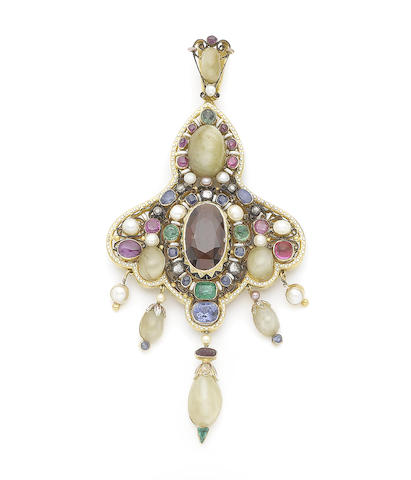 A pearl, enamel and gem-set pendant,