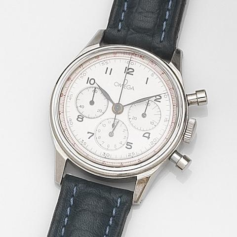 Omega. A stainless steel manual wind chronograph wristwatch Ref:2451-1, Case No.355, Movement No.10387994, Circa 1945