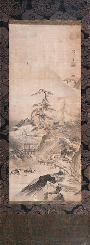 An ink painting of a Chinese landscape after Shugetsu (1440-1529) 18th century