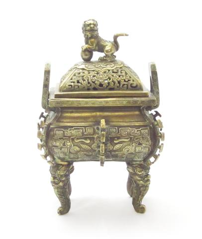 A bronze incense burner and cover, fang ding Bearing Kangxi four-character mark but 19th century