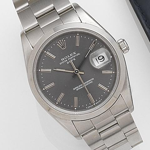 Rolex. A stainless steel automatic calendar bracelet watch Date, Ref:15200, Serial No.X61****, Movement No.652****, Circa 1991