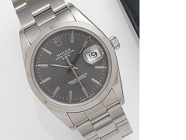 Rolex. A stainless steel automatic calendar bracelet watch Date, Ref:15200, Serial No.X61****, Movement No.652****, Circa 1991