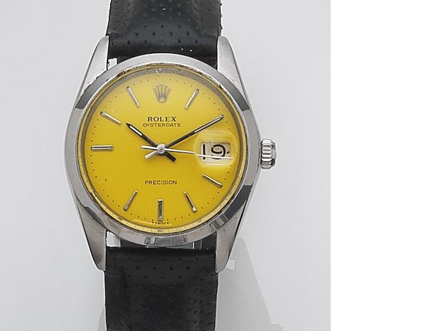 Rolex. A stainless steel manual wind calendar wristwatch Oysterdate, Ref:6694, Serial No.342****, Circa 1970
