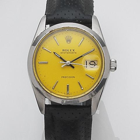 Rolex. A stainless steel manual wind calendar wristwatch Oysterdate, Ref:6694, Serial No.342****, Circa 1970