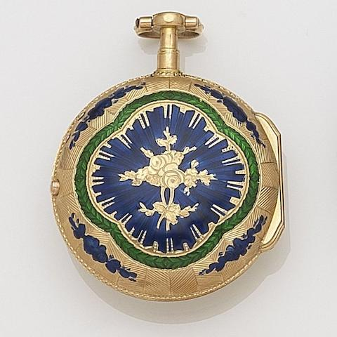 Marchand, Paris. A continental gold and enamel key wind open face pocket watch Movement No.4957, Circa 1820