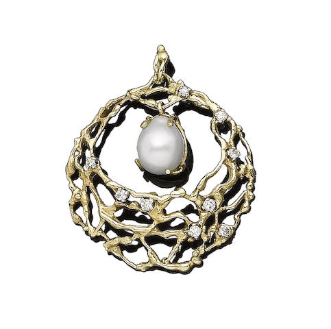 A cultured pearl and diamond-set pendant
