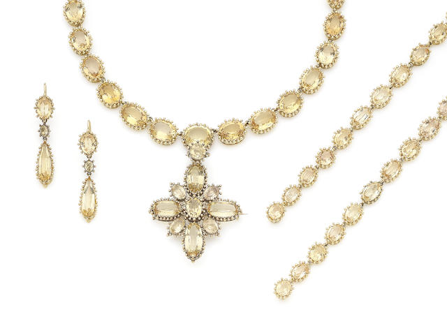 A late 19th/early 20th century topaz parure (4)