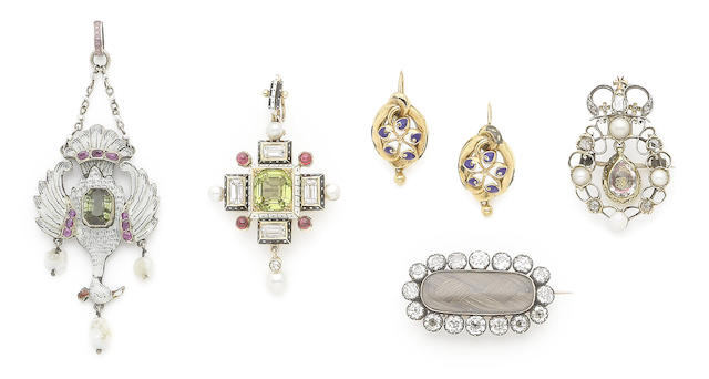 A collection of enamel and gem-set jewellery (6) (partially illustrated)