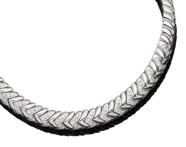 A diamond-set 'Spiga' collar necklace, by Bulgari