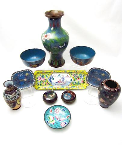 A Canton enamel pen tray, small pin dish and nine pieces of Chinese and Japanese cloisonné