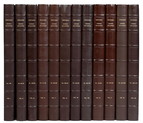 LEONARDO DA VINCI The Codex Atlanticus of Leonardo da Vinci, 12 vol., LIMITED TO 998 COPIES, 1973 (12 in 6 boxes)