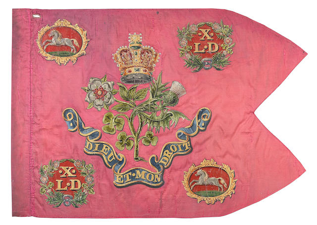 A Very Rare And Fine Guidon Of The 10th Or Prince Of Wales's Own Light Dragoons