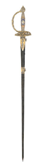 A Fine And Rare Silver-Gilt And Enamel Mounted Small-Sword Presented To Colonel John Campbell, 4th Earl Of Breadalbane By The 2nd Battalion, 4th Fencible Infantry