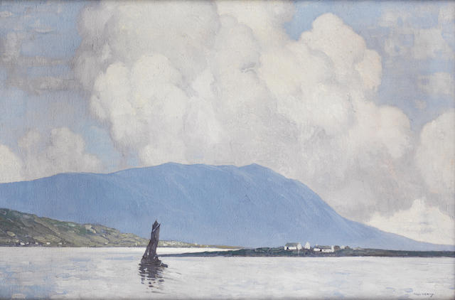 Paul Henry R.H.A. (Irish, 1876-1958) Landscape with fishing boat 40.6 x 60.9 cm. (16 x 24 in.)