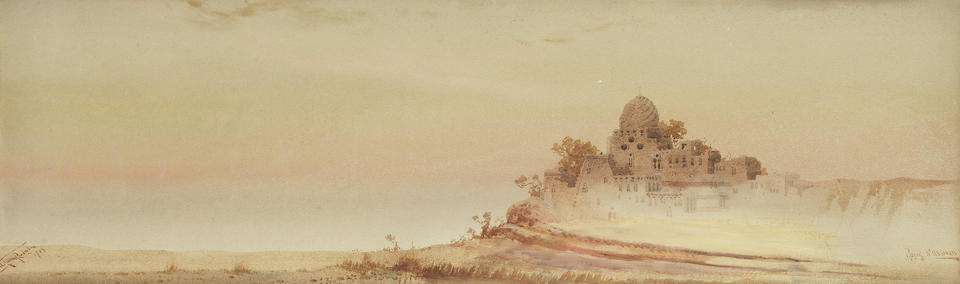 Augustus Osborne Lamplough, A.R.A., R.W.S (British, 1877-1930) Ruins, West Luxor; and Early Morning, North Luxor. Together with two similar watercolours by the same hand. (4)