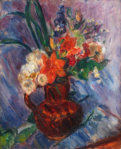 Sir Matthew Smith (1879-1959) Flowers in a Brown Jug 60.9 x 49.6 cm. (24 x 19 1/2 in.)